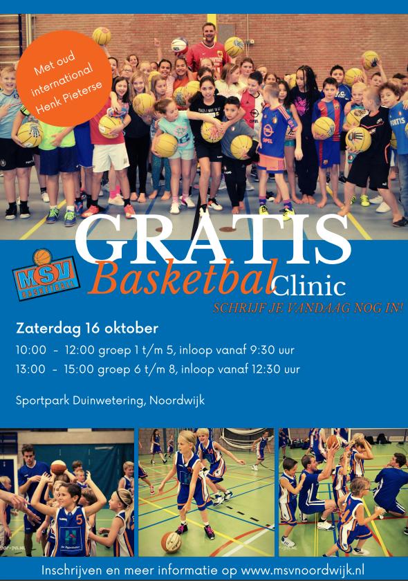 16 oktober: gratis Basketbalclinic Henk Pieterse!